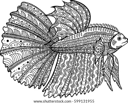 Betta Fish Hand Drawn Coloring Page Zentangle Doodle Art For Adult And Children Book