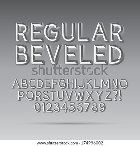 Beveled Outline Font and Digit, Eps 10 Vector, Editable for any Background - stock vector