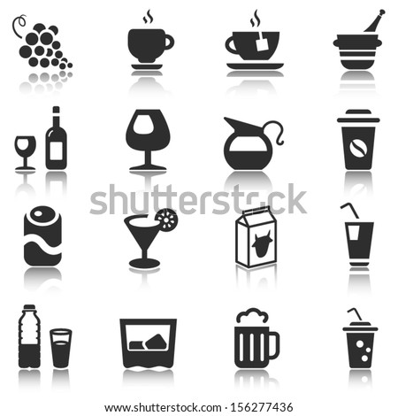 beverage icons set in black with reflection
