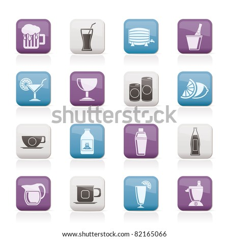 beverages and drink icons - vector  icon set - stock vector