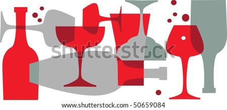 beverages, bottels and glasses - stock vector