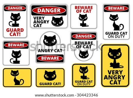 Beware Guard Cat Signs Humorous Comic Labels and Plates Collection. Vector EPS8 set - stock vector