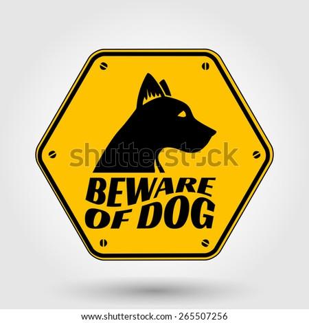 Beware of dog sign - vector template - stock vector