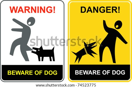 Beware of the mad dog - warning sign. Mad dog attack - danger vector sign. Keep out. - stock vector