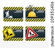 beware traffic sign under construction vector set - stock photo