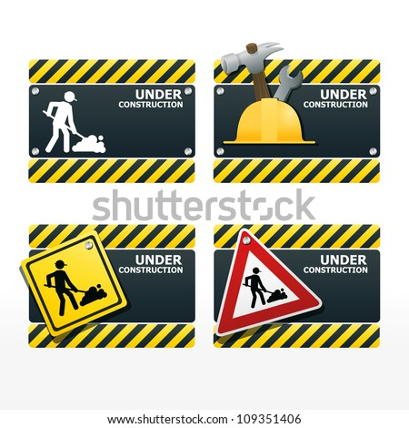 beware traffic sign under construction vector set - stock vector