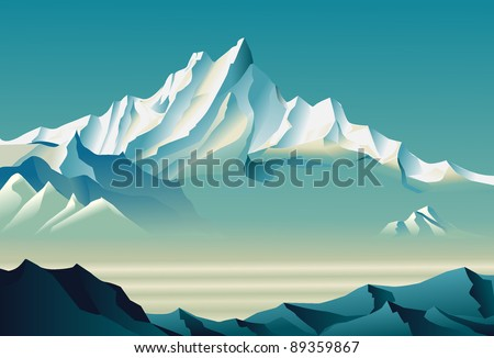 Bewitching snowy mountains - stock vector