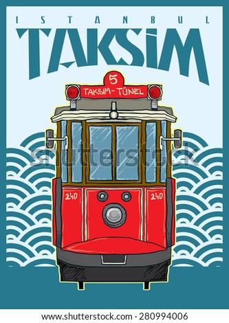 beyoglu taksim tram - stock vector