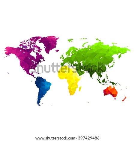Bg bright colorful World map, continents a transparent background, vector illustration.Low poly style. - stock vector