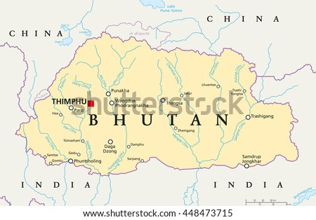 bhutan political map with capital thimphu national borders important cities rivers and lakes