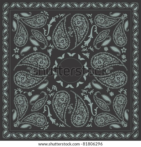 Bi-color Paisley Bandana Design - stock vector