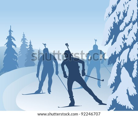 Biathlon runners, vector illustration, silhouettes - stock vector