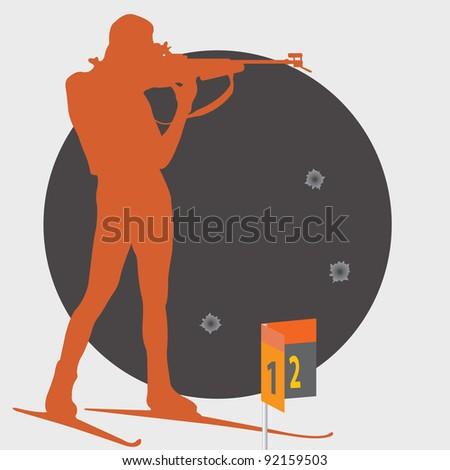 Biathlon. Shooting. Vector illustration - stock vector