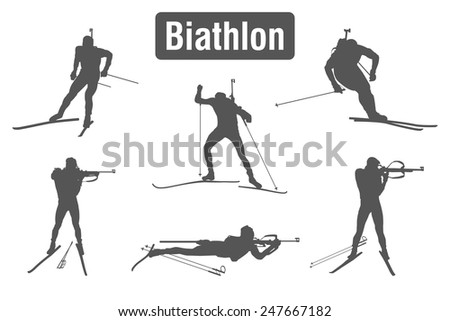 Biathlon - winter sports nordic combined: skiing and rifle shooting. Set of silhouettes of athletes in various poses and positions isolated on a white background. Vector illustration. - stock vector
