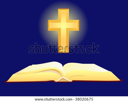 bible and cross - stock vector