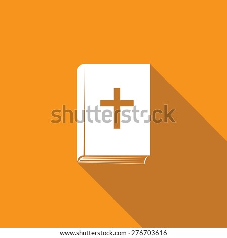 Bible book icon with long shadow - stock vector