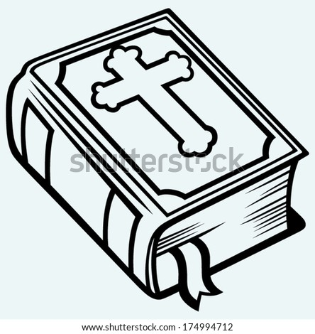 Bible book. Image isolated on blue background - stock vector