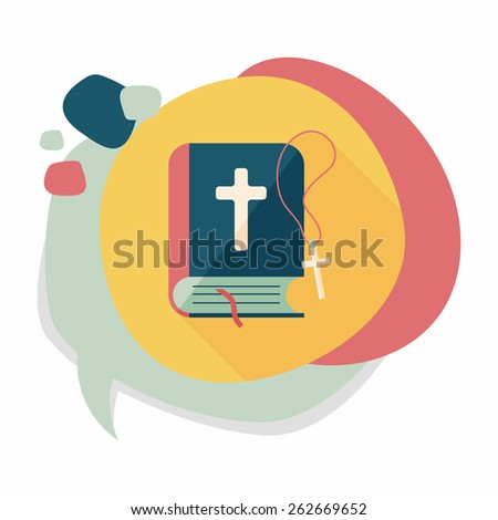 bible flat icon with long shadow,eps10 - stock vector