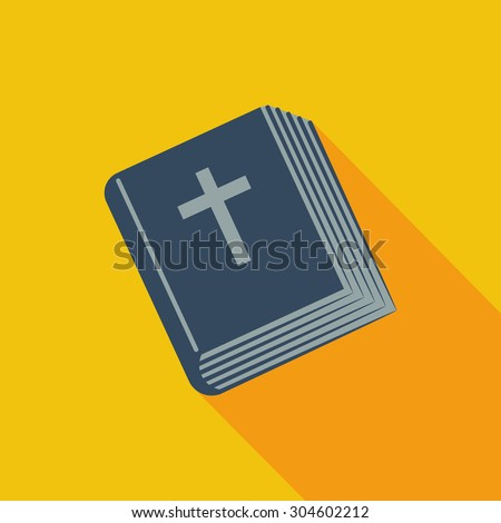Bible icon. Flat vector related icon with long shadow for web and mobile applications. It can be used as - logo, pictogram, icon, infographic element. Vector Illustration. - stock vector