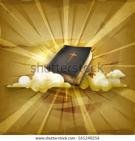 Bible, old style vector background - stock vector