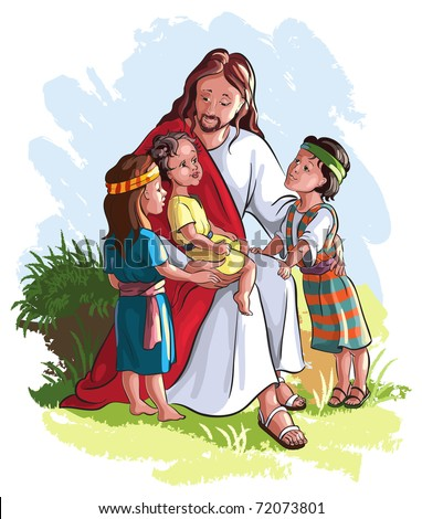 Bible story of Jesus and children. The vector art image isolated on white background - stock vector