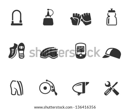 Bicycle accessories icons series  in single color - stock vector
