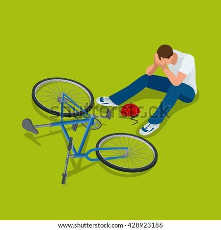 Bicycle accident.  Man falls off his bicycle. Flat  3d vector isometric illustration - stock vector