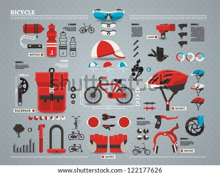 bicycle and accessories info graphic, vector set - stock vector