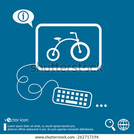 Bicycle and flat design elements. Line icons for application development, web page coding and programming, creative process, social media, print. - stock vector
