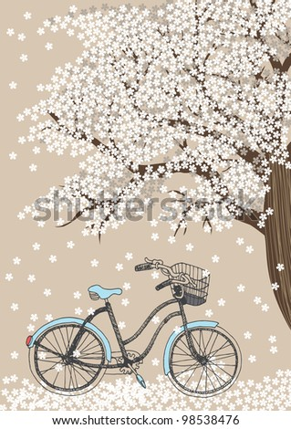 Bicycle and white blooming tree - stock vector