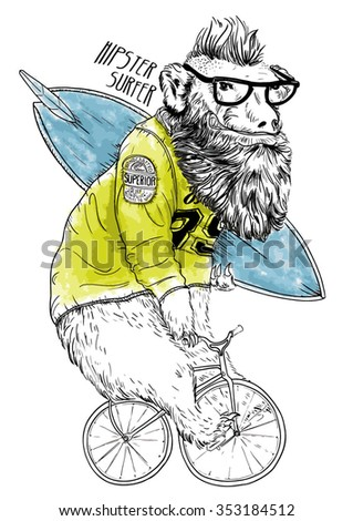 bicycle bear illustration  - stock vector
