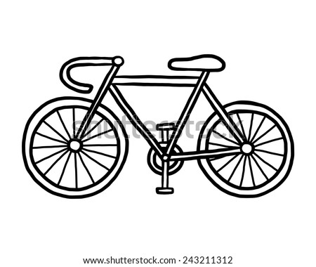 bicycle / cartoon vector and illustration, black and white, hand drawn, sketch style, isolated on white background. - stock vector