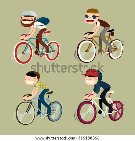bicycle character set. fashion. vector illustration - stock vector