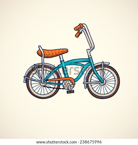bicycle, color doodle style vector illustration - stock vector