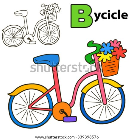 Bicycle. Coloring book page. Cartoon vector illustration. - stock vector