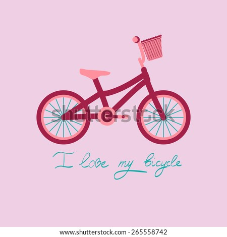 Bicycle cute vector image isolated - stock vector