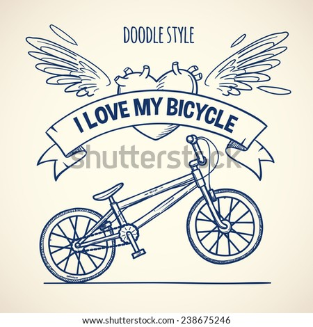 bicycle, doodle style vector illustration - stock vector