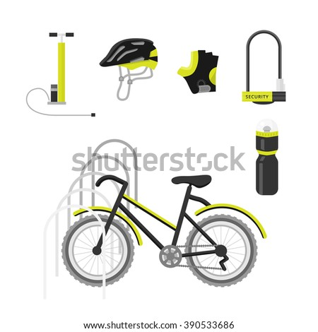Bicycle equipment icon vector set. Bike and glove, sunglasses  and uniform cyclist illustration. black bike equipment icon for sport - stock vector
