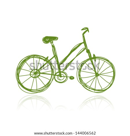 Bicycle green sketch for your design - stock vector