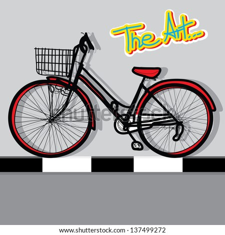 bicycle - Hand drawn and color background - stock vector
