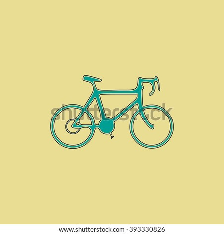 Bicycle icon Flat line icon on yellow background. Vector pictogram with stroke - stock vector