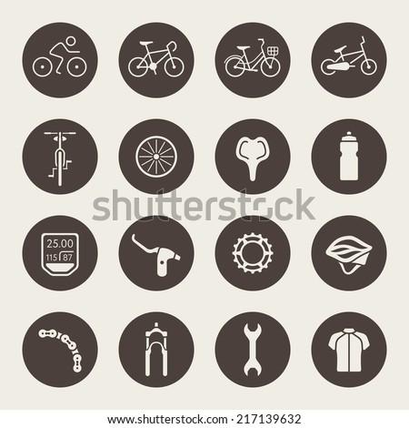 Bicycle icon set - stock vector