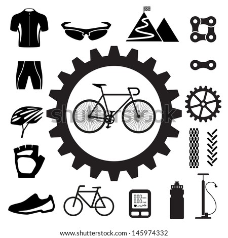 Bicycle icons set,illustration eps 10 - stock vector