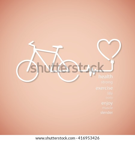 bicycle line graphic for health - stock vector