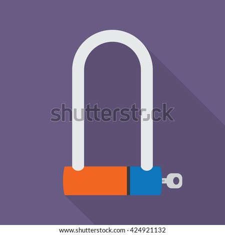 Bicycle Lock U shaped industrial. Vector illustration. with shadow - stock vector