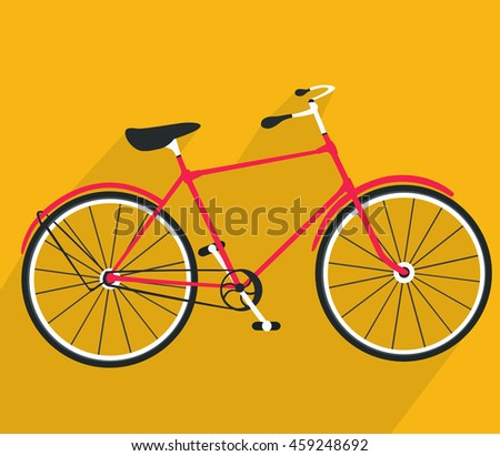 Bicycle made in flat style. Vector bike icon.