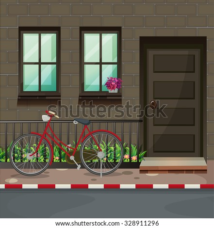 Bicycle parking in front of the house illustration - stock vector