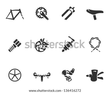 Bicycle part icons series  in single color - stock vector