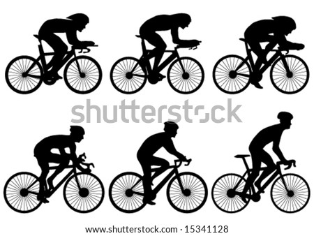 bicycle race silhouette - vector