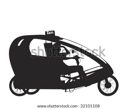 bicycle rickshaw silhouette - stock vector